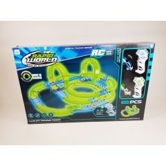 HOT WHEEL REMOTE CONTROL RC SLOT CAR RACER GLOW IN THE DARK RACE TRACK 65PCS