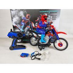1:10 Remote Control RC Smoking Motorcycle 2.4ghz 4ch Crazy 20KM/H Racing MX MotorCross Race Bike