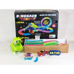 Smoking Glow In The Dark Light Up 360 Loop Sound DIY Dinosaur 143 Piece Slot Car Race Track Set Jurassic World for Children's Gift